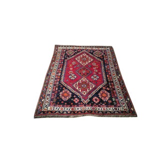 Traditional Shiraz Hand Made Knotted Rug - 5′ × 8′