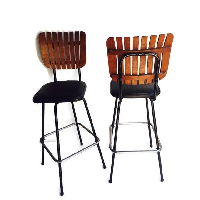 Image of Mid-Century Wood Slat Back Bar Stools - A Pair