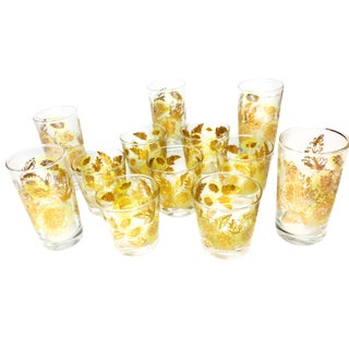 Beautiful midcentury 12 piece set of Culver-style glassware.