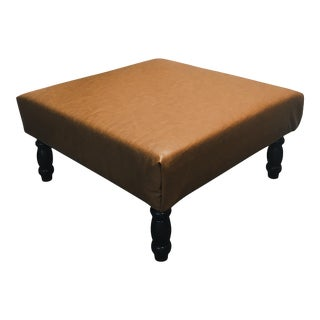 Reupholstered Brown Vinyl Ottoman