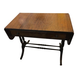Mahogany Table with Drawer & Side Leaves
