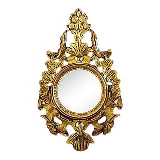 Large 1950s Giltwood Carved Italian Mirror