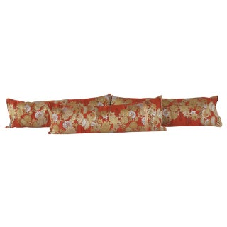 Silk Kimono Bolster Pillows - Set of 3