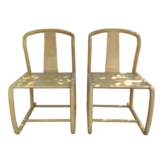 Oriental Style Bent Wood Accent Chairs - A Pair