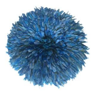 Blue Feathered African JuJu Hat
