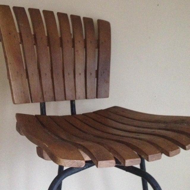 Mid Century Umanoff Style Wooden Slat Stool - Image 6 of 10