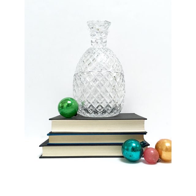 Image of Vintage Large Clear Glass Pineapple With Lid