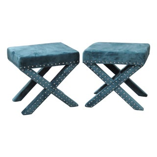 Directoire Style Upholstered X-Benches - Pair