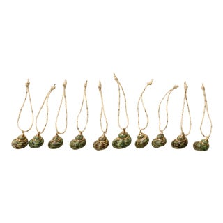 Gold Plated Spiral Shell Christmas Ornaments - S/10