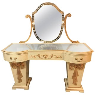 Hollywood Regency Grosfeld House Parcel Paint and Gilt Decorated Vanity or Desk