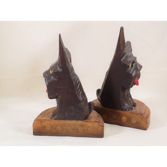 Image of Hand Carved Black Forest Scottie Bookends - Pair