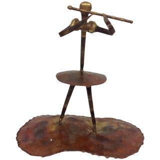 Vintage Torch Cut Copper & Nail Flutist Sculpture