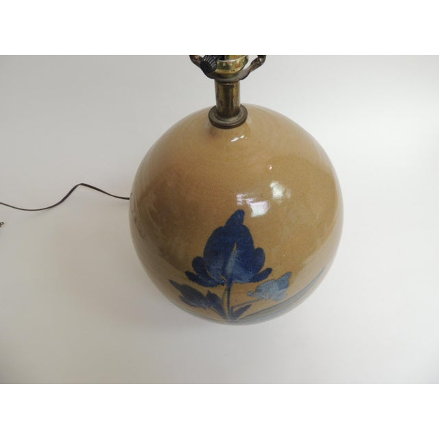 Vintage Round Stoneware Table Lamp - Image 3 of 5