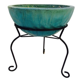 Turquoise Ceramic Planter and Metal Plant Stand