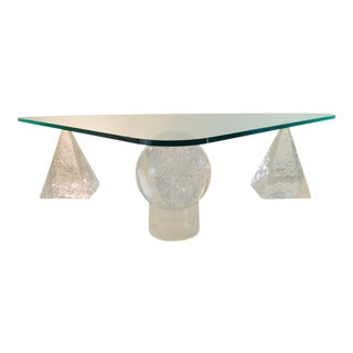 Geometric Lucite Based Cocktail Table