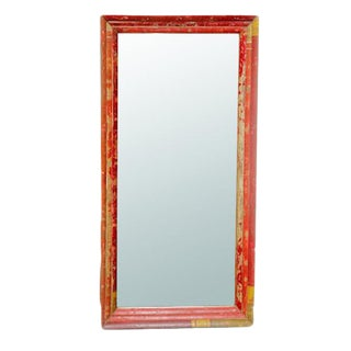Red Painted Reclaimed Mirror