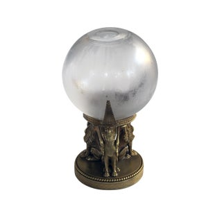 A Well-Executed Swedish Crystal Orb Vase on a Bronze Egyptian-Inspired Stand by Orrefors
