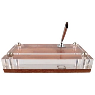 Chrome Pencil Holder on Lucite & Wood