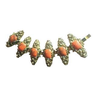 1940s Caramel Cabochon Link Bracelet