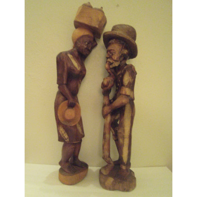 Vintage Wooden Carved Figures - Pair - Image 4 of 11