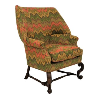 English William & Mary Style Wing Chair