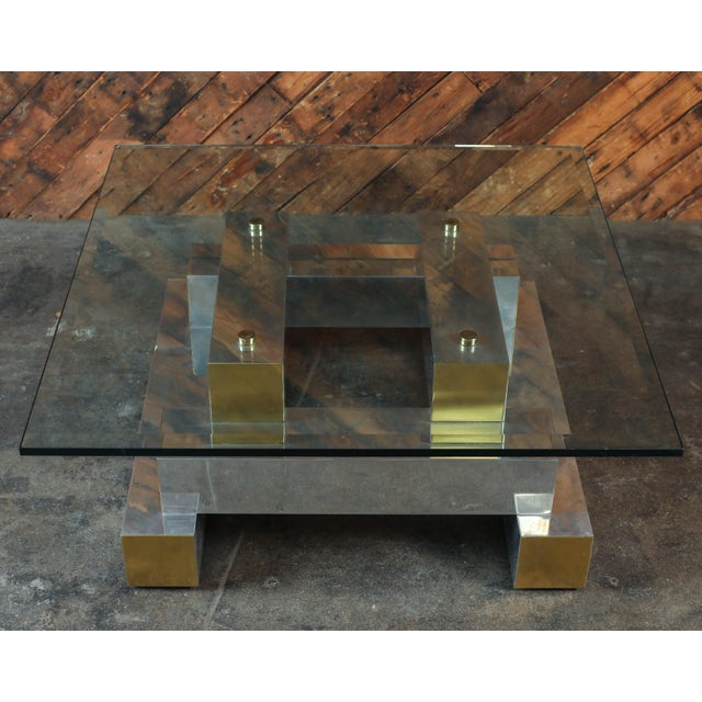 Paul Evans Style Vintage Chrome & Brass Coffee Table - Image 2 of 7