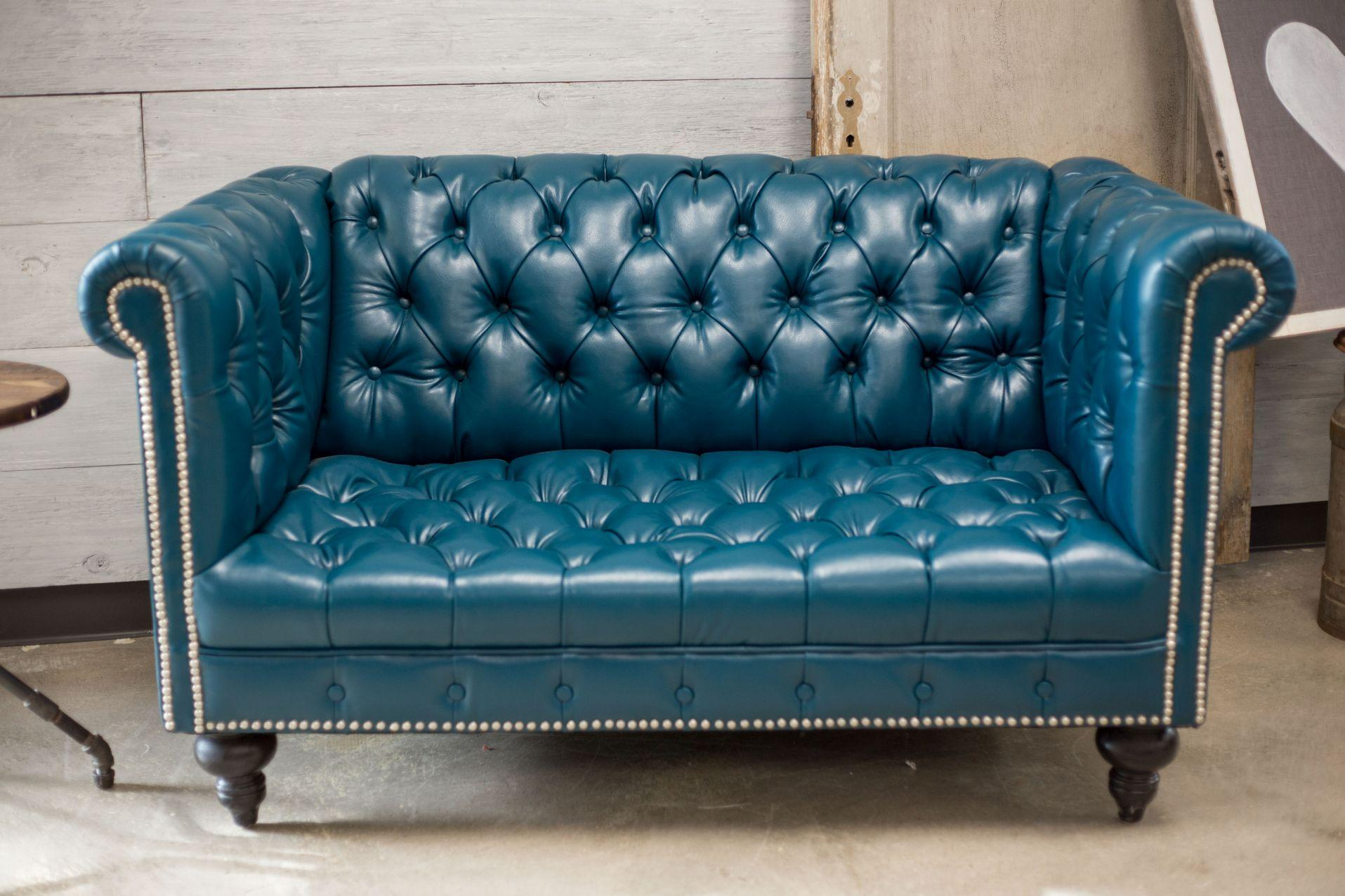 Teal Faux Leather Chesterfield Love Seat Chairish