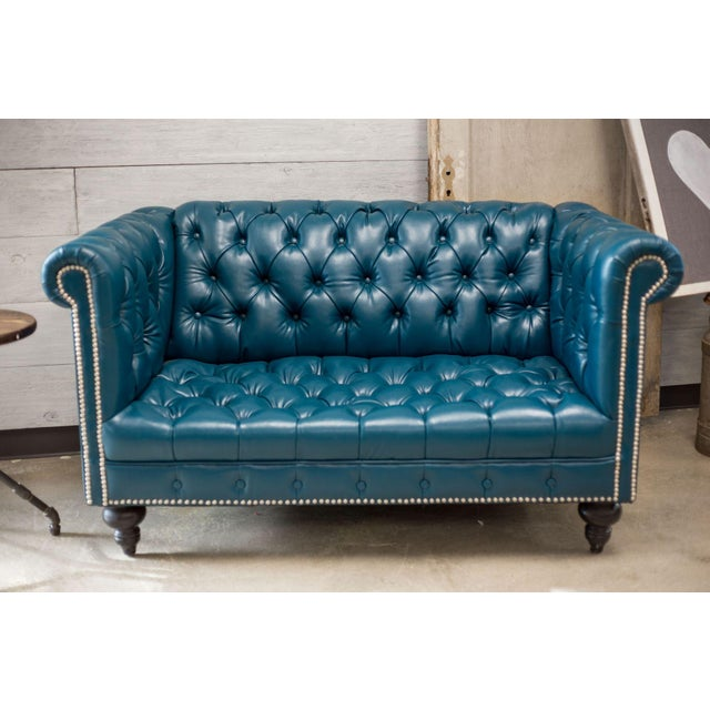 Teal faux leather chesterfield love seat chairish for Teal leather sofa