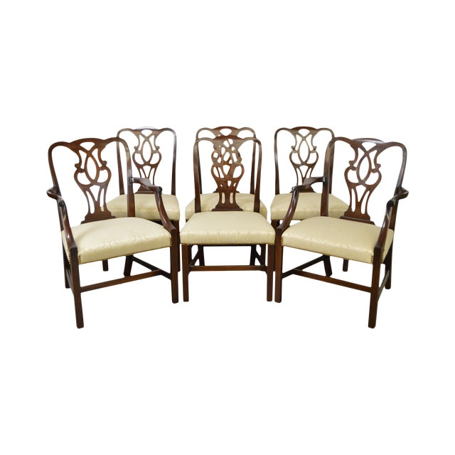 Baker Vintage Set of 6 Solid Mahogany Chippendale Style Dining Chairs - Image 1 of 10