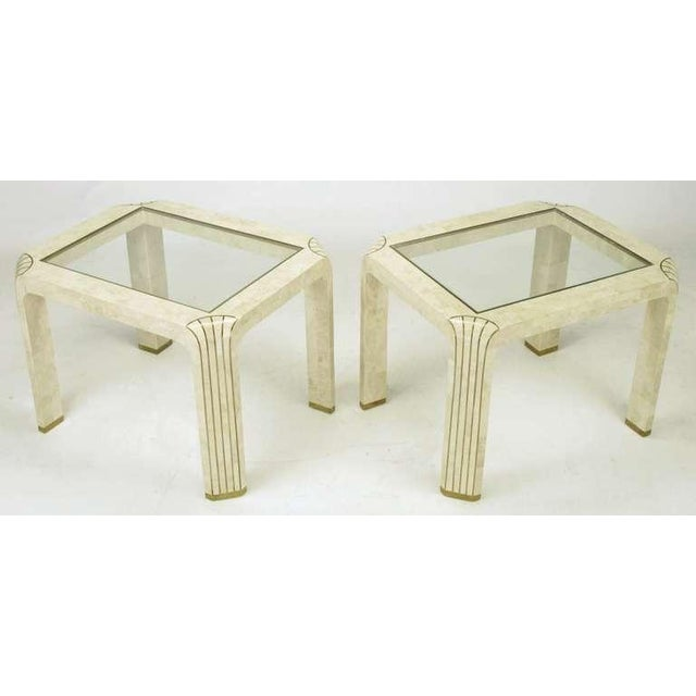 Image of Pair Tessellated Fossil Stone & Inlaid Brass Side Tables
