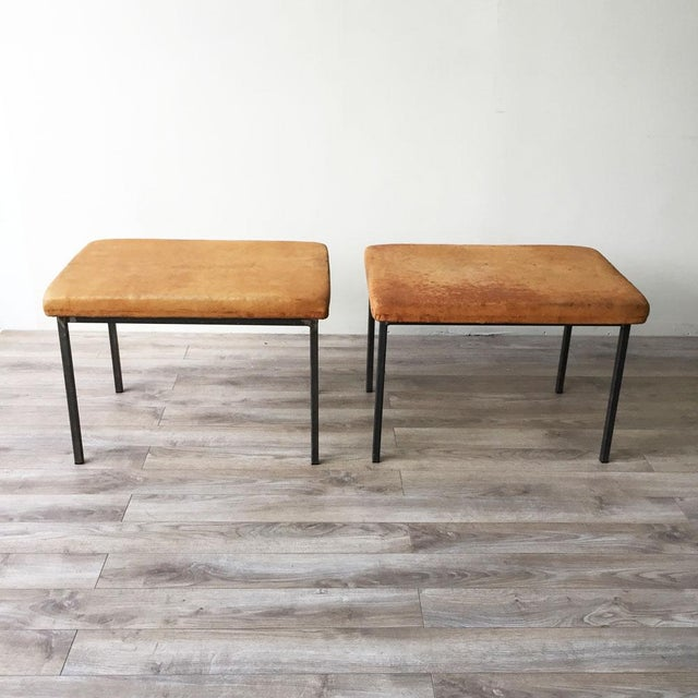 Vintage Leather Benches - A Pair - Image 3 of 5