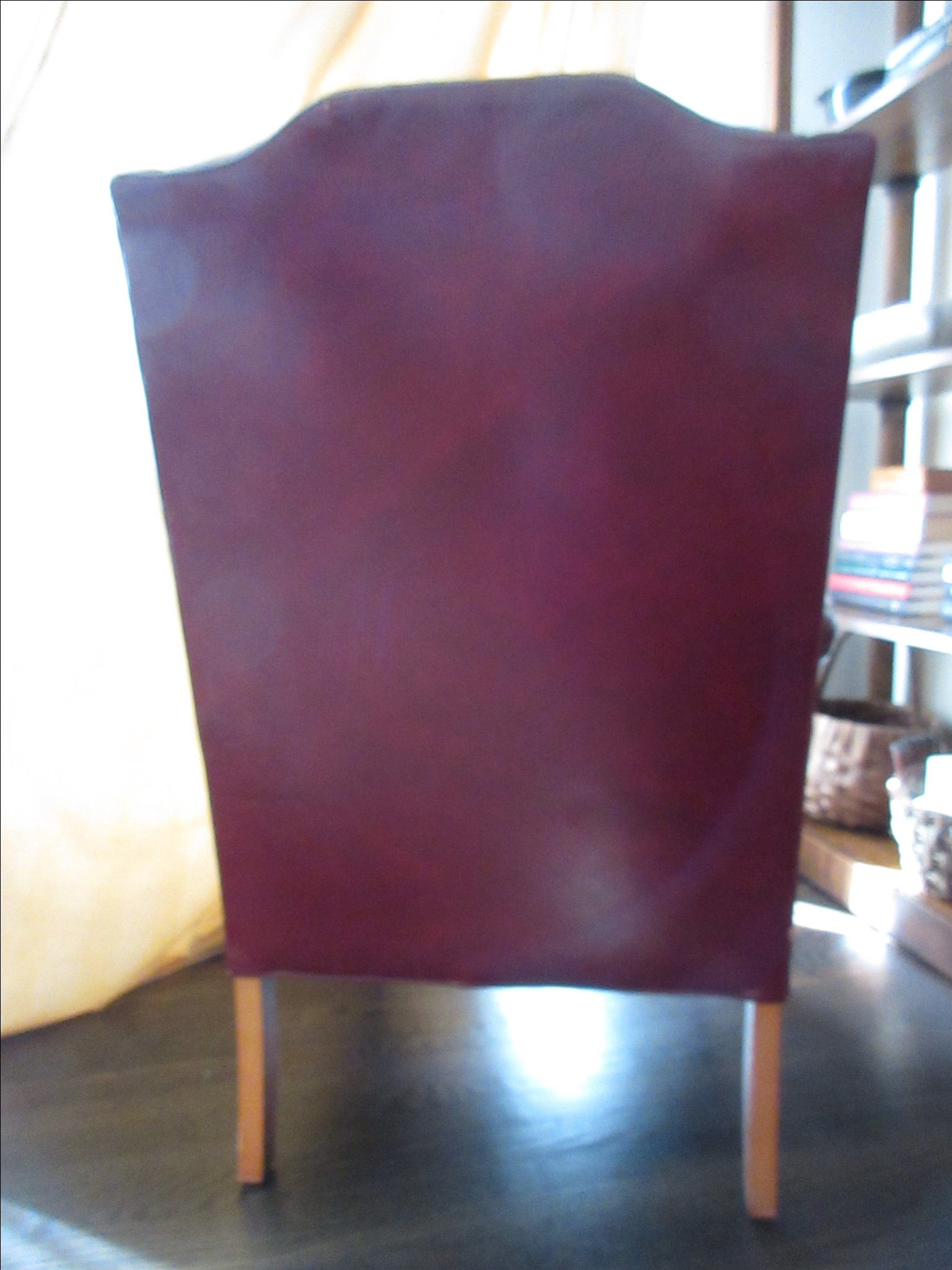 Hickory Furniture Red Leather Wing Chair   Image 4 Of 11