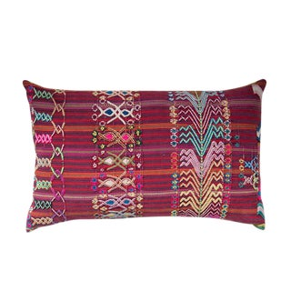 Vintage Guatemalan Red & Pink Striped Pillow