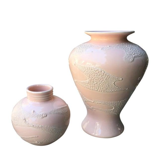 Vintage Shagreen Embossed Vases - Pair - Image 1 of 4