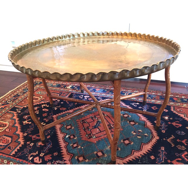 Mid-Century Hand-Hammered Brass Tray Coffee Table - Image 2 of 8