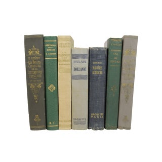 French Art Deco Leather-Bound Books - Set of 7