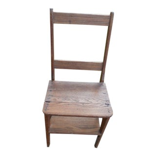 Antique Oak Folding Chair/ Ladder