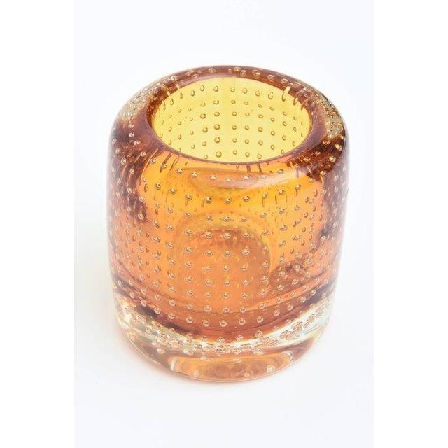 Heavy Bullecante Italian Murano Seguso Glass Vase or Candleholder - Image 3 of 8