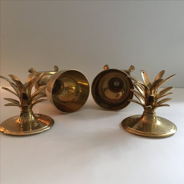 Image of Vintage Brass Pineapple Urn Containers - A Pair