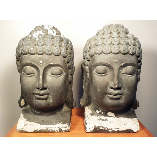 Image of Large Matching Buddha Heads - A Pair