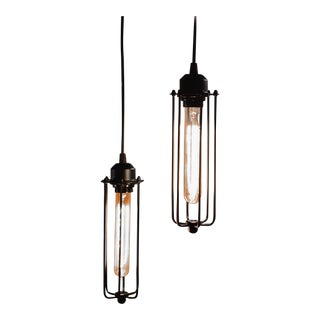 Industrial Cylinder Cage Pendants - A Pair