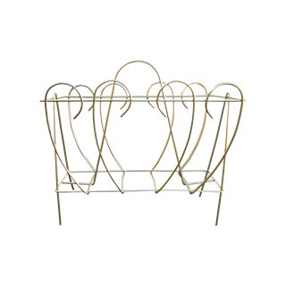 Vintage Polished Brass Magazine Rack