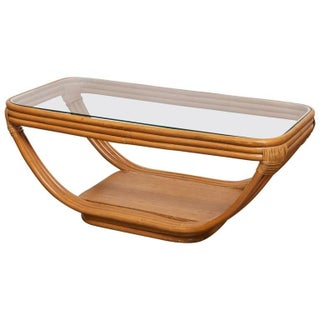 Paul Frankl Rattan & Glass Coffee Table