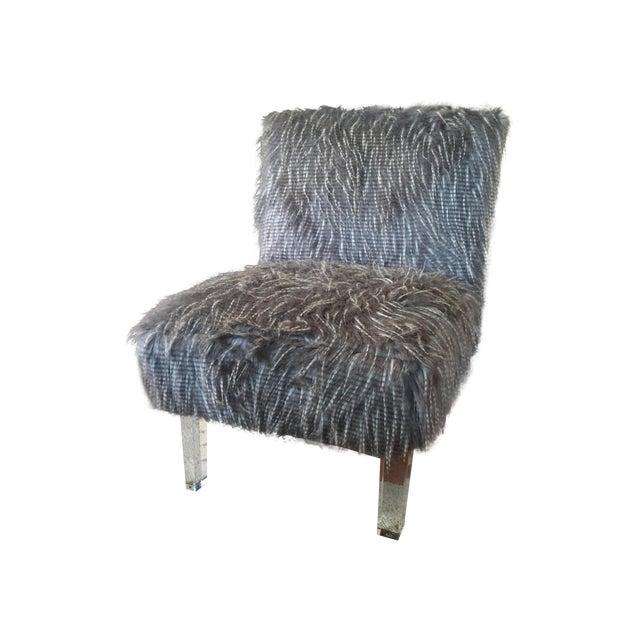 Z Gallerie Gray Amp White Fur Upholstered Chair Chairish