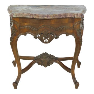 Petite Carved Marble Top Pier Table