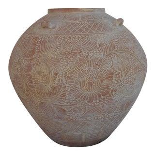 Vintage Incised Pottery Vase