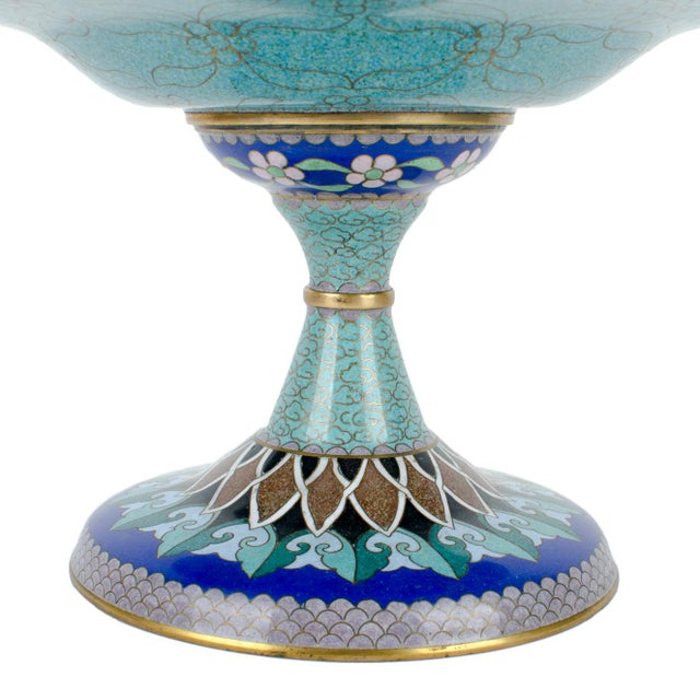 Vintage Cloisonne Pedestal Compote - Image 4 of 7