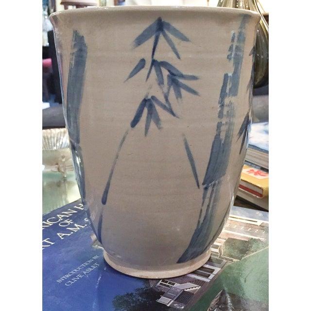 Image of Vintage Asian Blue & White Bamboo Motif Vase