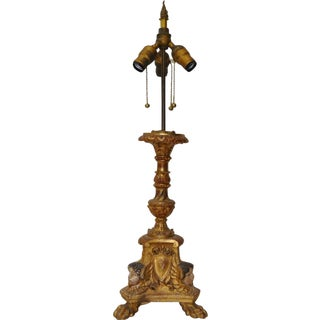 Antique 19th C. French Carved & Gilded Table Lamp