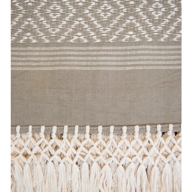 Taupe & Cream Handwoven Mexican Throw - Image 4 of 4